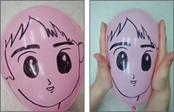 ピンク色の風船で愛が後押し(彼氏の顔編)